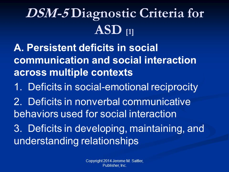 DSM-5 Diagnostic Criteria for ASD [1]